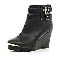 Black double buckle wedge ankle boots