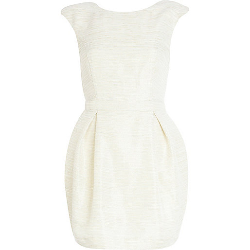 Cream textured cocoon dress