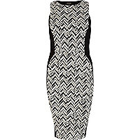 Black and white geometric print tube dress