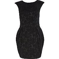 Black jacquard cocoon dress