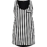 Black and white stripe racer back vest