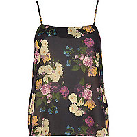 Black floral print cami top