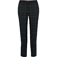 Navy tartan smart cigarette trousers