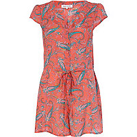 Coral paisley print cut out playsuit
