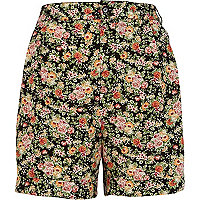 Black floral print high waisted shorts