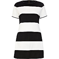 Black and white stripe A line dress
