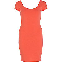 Coral backless ballerina scoop neck dress