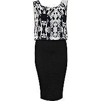 Black abstract print 2 in 1 midi dress