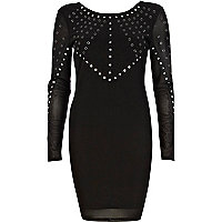 Black mirror embellished mini dress