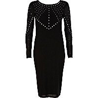 Black mirror embellished midi dress