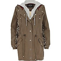 Khaki back print 2 in 1 parka jacket