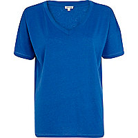 Blue boxy V neck t-shirt