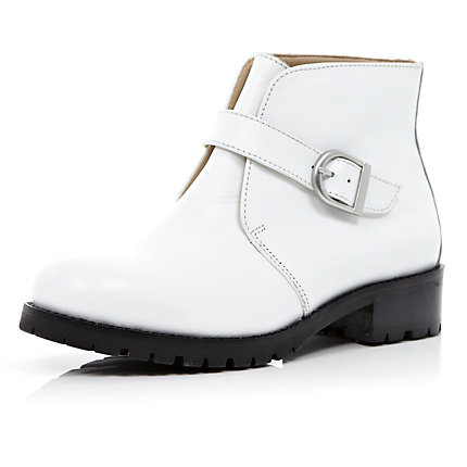 White single strap ankle boots