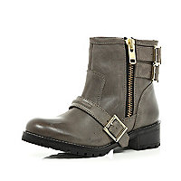 Grey multi buckle biker boots