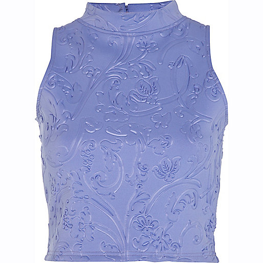 Blue embossed pattern turtle neck crop top