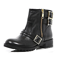 Black multi buckle biker boots