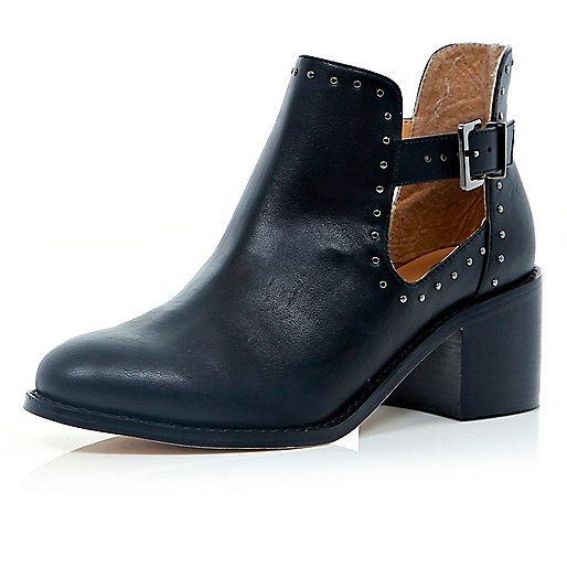 Black cut out studded block heel boots