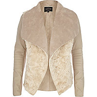 Cream shearling panel waterfall jacket