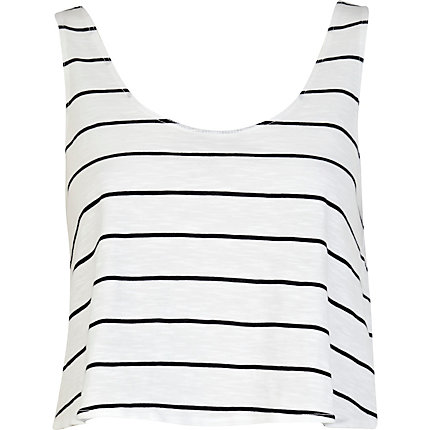 Black and white stripe cropped boxy vest