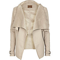 Beige leather look waterfall jacket