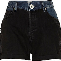 Dark wash two tone denim shorts