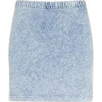 Light acid wash denim-look mini skirt