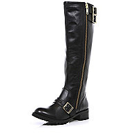 Black buckle outside zip knee high boots