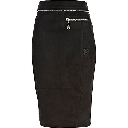 Black stretch leather zip trim pencil skirt