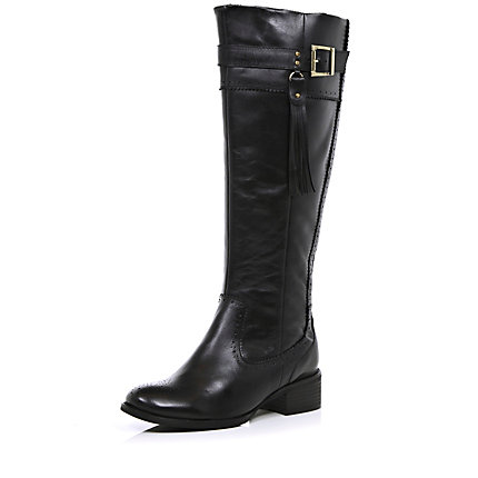 Black tassel riding boots