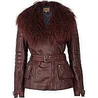 Dark red Mongolian fur collar biker jacket