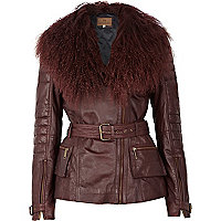 Dark red Mongolian fur collar biker jacket