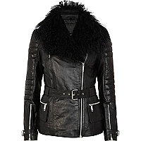 Black Mongolian fur collar biker jacket