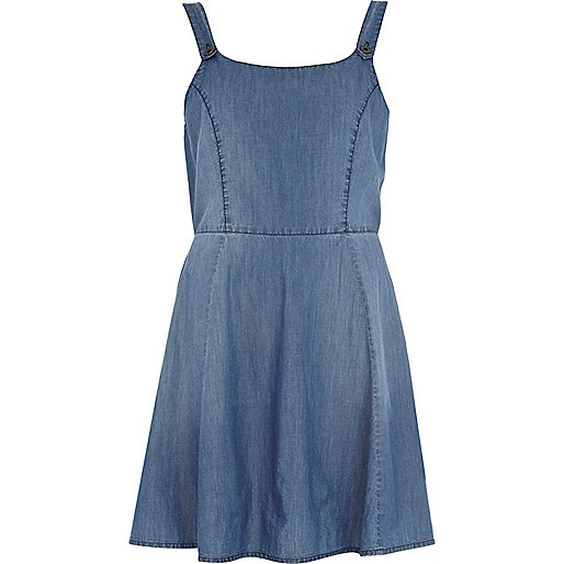 Light wash Chelsea Girl denim pinafore dress