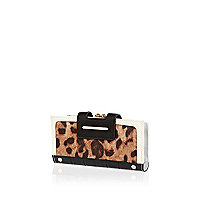 Brown leopard print colour block purse