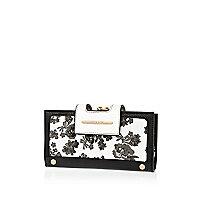 Black floral print clip top purse