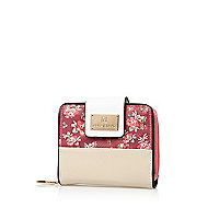 Red floral colour block square purse