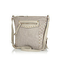 Grey studded messenger bag