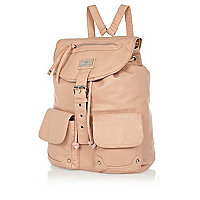 Light pink leather look rucksack