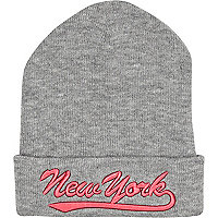 Grey fluro New York embroidered beanie hat