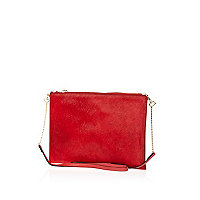 Red ponyskin cross body bag