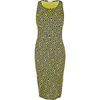 Lime and black geometric print bodycon dress