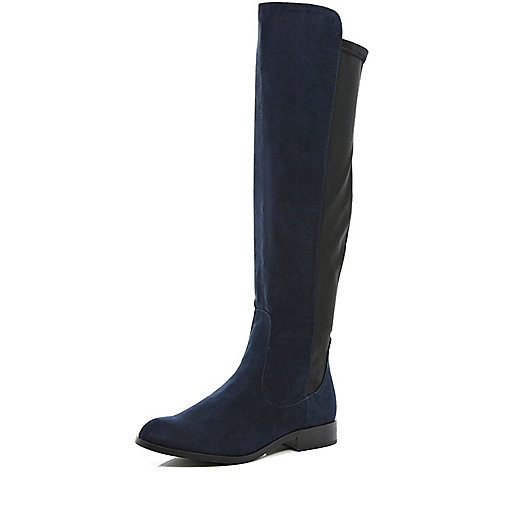 Navy stretch back knee high boots