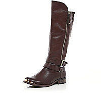 Dark brown zip detail riding boots