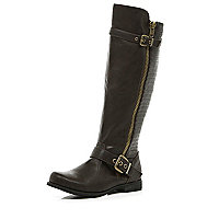 Dark brown quilted panel riding boots