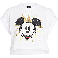 White Mickey Mouse print cropped t-shirt