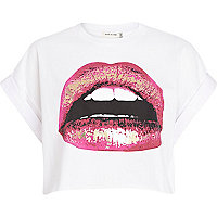 White foil lip print cropped t-shirt