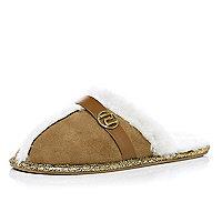 Beige RI mule slippers