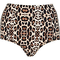Brown animal print high waist bikini bottoms
