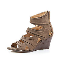 Brown ruched cut-out low wedges