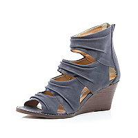 Grey ruched cut-out low wedges